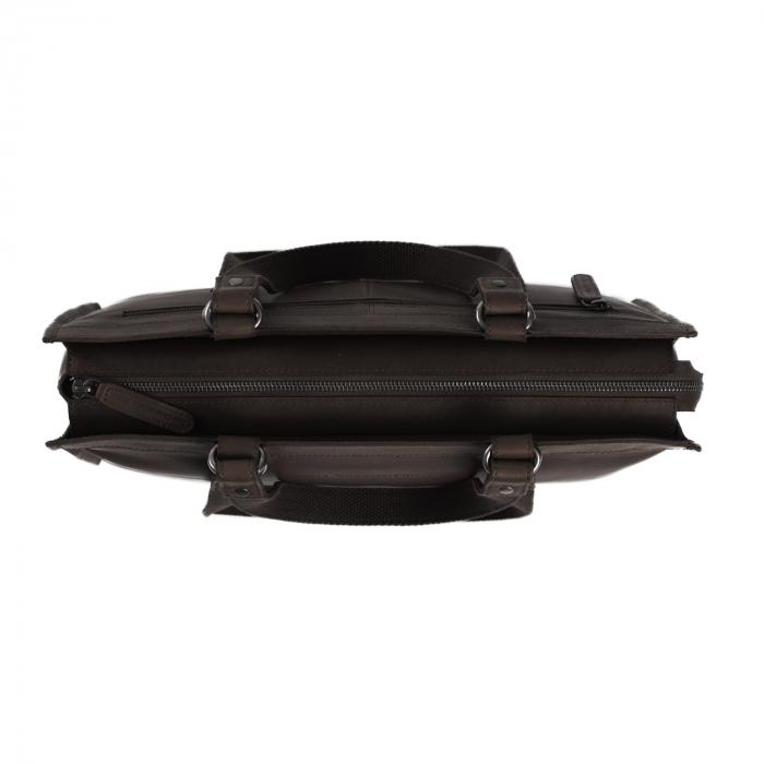 Geanta de laptop din piele naturala, The Chesterfield Brand, Lima, 15 inch, Maro inchis [2]