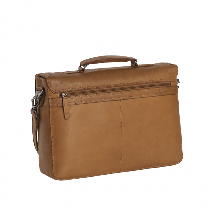 Geanta de laptop din piele naturala, The Chesterfield Brand, Linz 15.6 inch, Maro coniac [1]