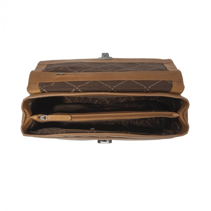 Geanta de laptop din piele naturala, The Chesterfield Brand, Linz 15.6 inch, Maro coniac [2]