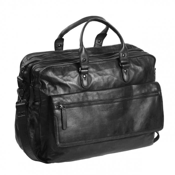 Geanta de laptop din piele naturala, The Chesterfield Brand, Rowan 17 inch, Negru [0]