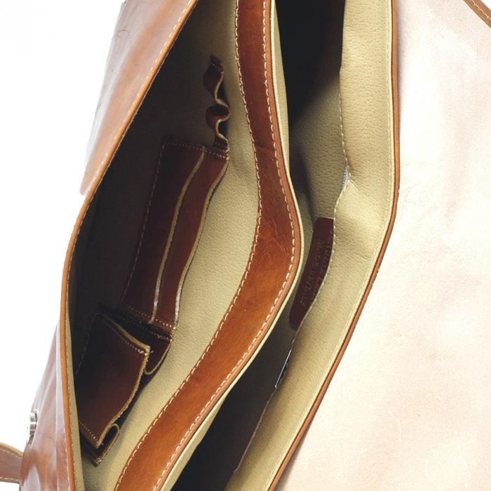 Geanta de umar din piele vachetta maro coniac, unisex S5544 [2]