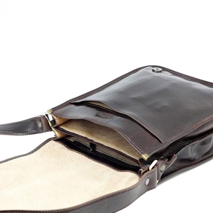 Geanta de umar din piele vachetta maro inchis model S5550 [4]