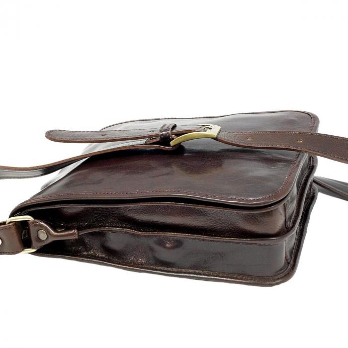 Geanta de umar din piele vachetta maro inchis model S5550 [3]