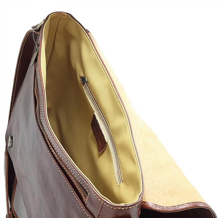 Geanta de umar din piele vachetta maro roscat, unisex S5544 [2]
