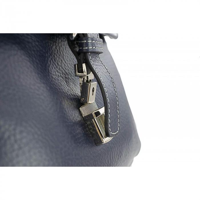 Geanta din piele moale bleumarin cu cusaturi, model 048 [6]