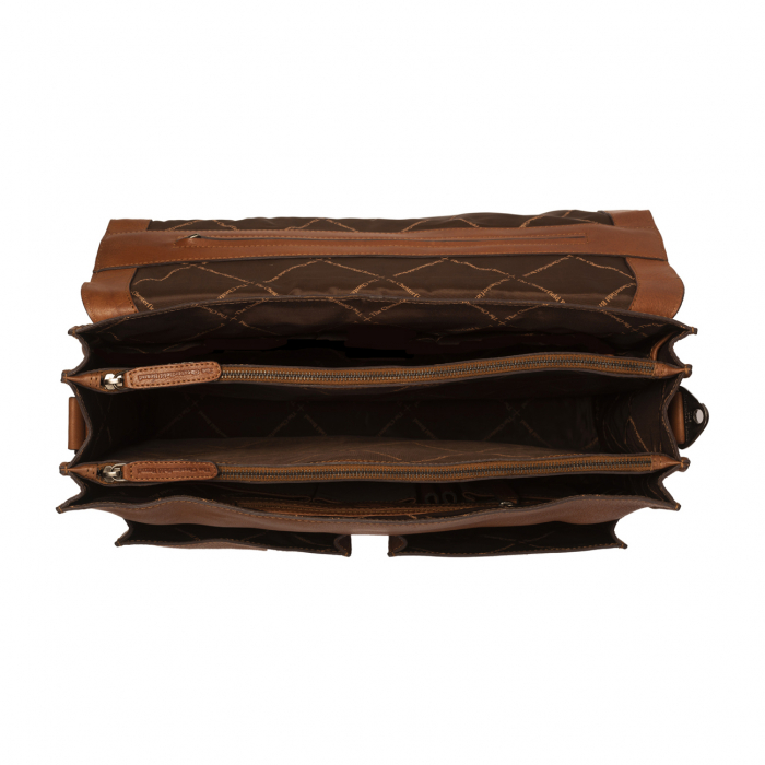 Geanta laptop The Chesterfield Brand, piele naturala, Idaho 15,6 inch, cu 5 compartimente, Maro coniac [2]