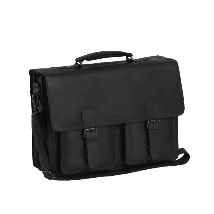 Geanta laptop The Chesterfield Brand, piele naturala, Lisbon 15,6 inch, cu 5 compartimente, Negru [0]