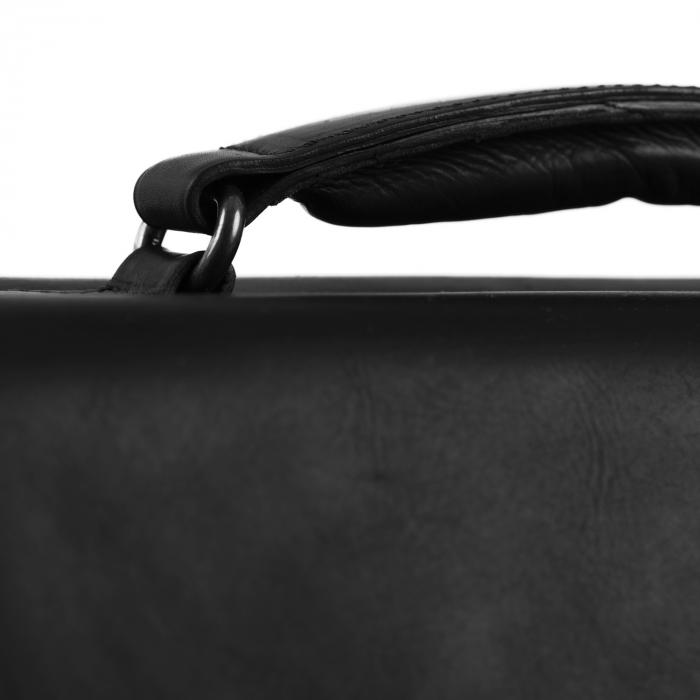 Geanta laptop The Chesterfield Brand, piele naturala, Lisbon 15,6 inch, cu 5 compartimente, Negru [4]