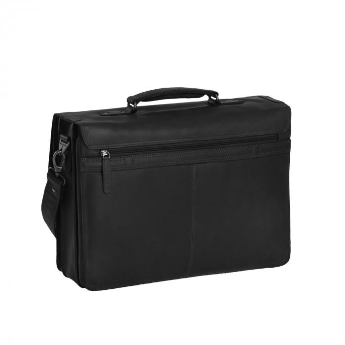 Geanta laptop The Chesterfield Brand, piele naturala, Lisbon 15,6 inch, cu 5 compartimente, Negru [1]