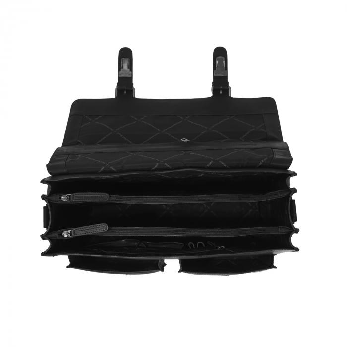 Geanta laptop The Chesterfield Brand, piele naturala, Lisbon 15,6 inch, cu 5 compartimente, Negru [2]