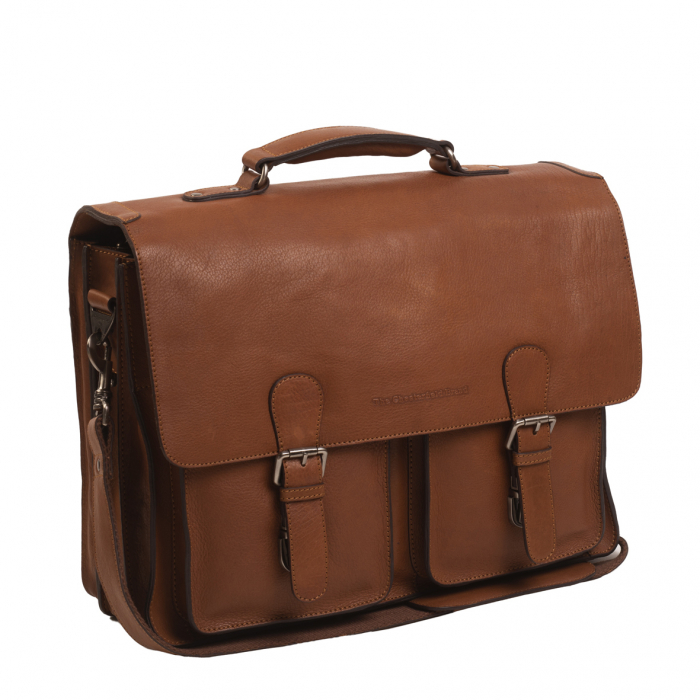 Geanta laptop The Chesterfield Brand, piele naturala, Idaho 15,6 inch, cu 5 compartimente, Maro coniac [0]