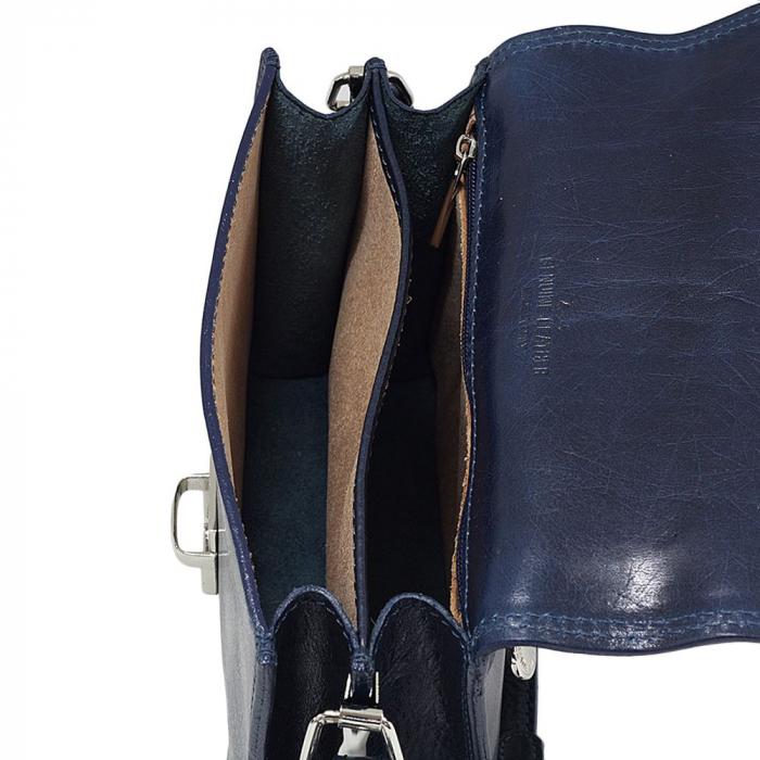 Geanta mica de dama din piele naturala vachetta albastru indigo S5516 [3]