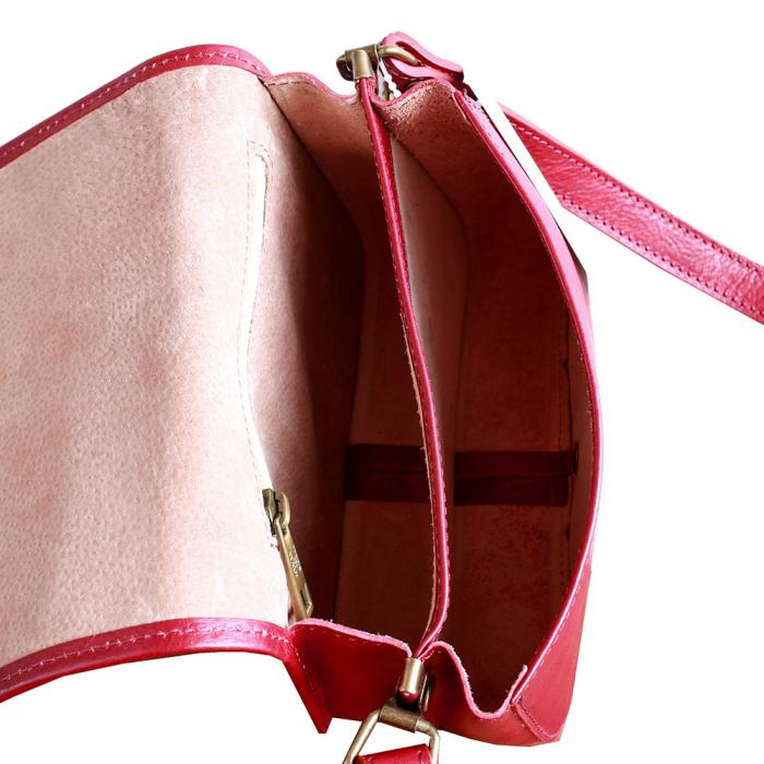 Geanta mica de umar din piele naturala rosie GD102 [2]