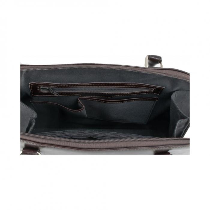 Geanta model clasic, de mana si umar, din piele naturala bordo, model 150 [3]