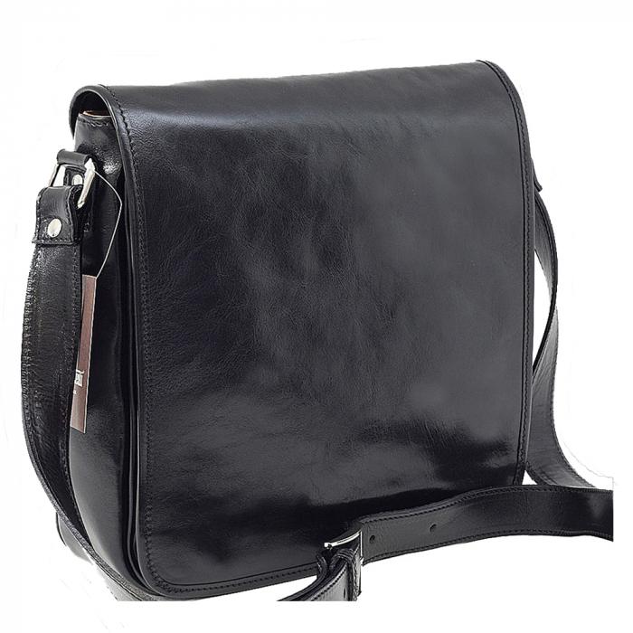 Geanta neagra casual din piele vachetta model unisex S5543 [0]