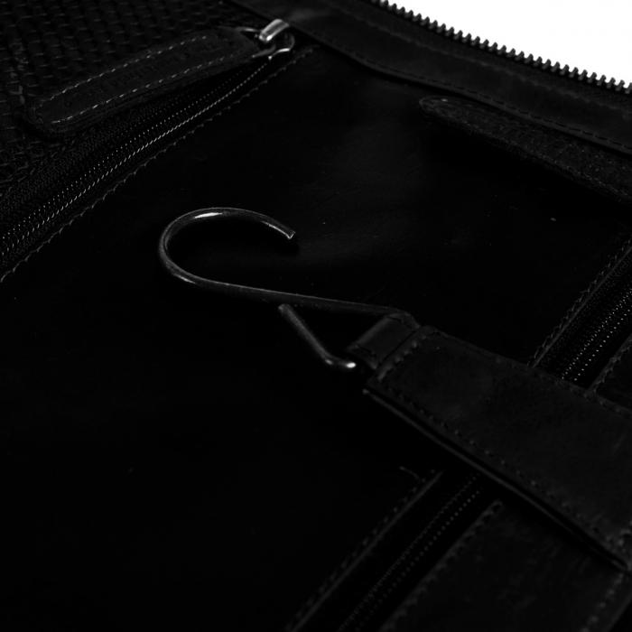Geanta pentru cosmetice The Chesterfield Brand, din piele naturala, cu maner si agatatoare metalica, Gillian, Negru [4]
