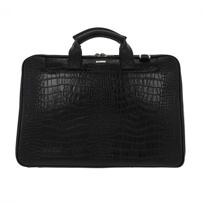 Geanta pentru laptop de 15,4 inch, din piele naturala croco neagra model 7008 [1]