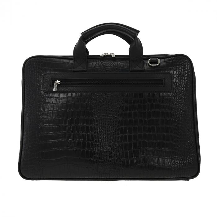 Geanta pentru laptop de 15,4 inch, din piele naturala croco neagra model 7008 [2]