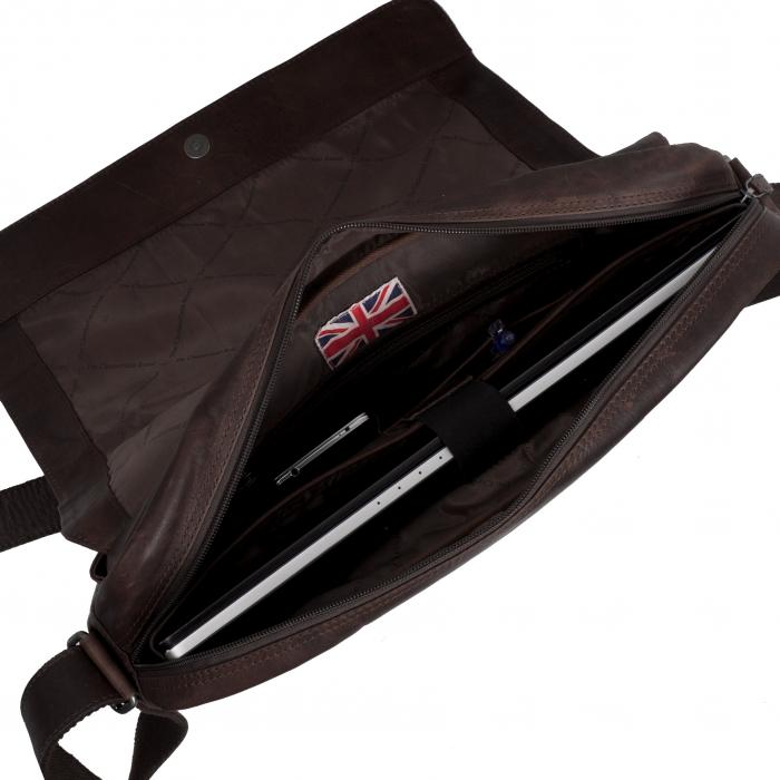 Geanta pentru laptop din piele naturala, The Chesterfield Brand, Richard 15.4 inch, Maro inchis [3]