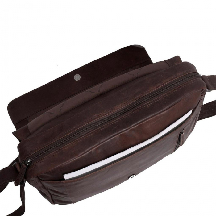 Geanta pentru laptop din piele naturala, The Chesterfield Brand, Richard 15.4 inch, Maro inchis [4]