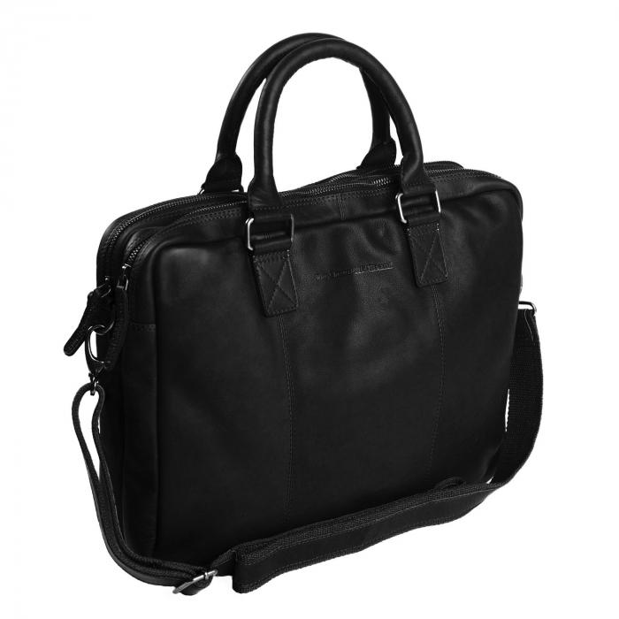 Geanta pentru laptop de 15,6 inch, The Chesterfield Brand din piele naturala, Floris, Negru [0]