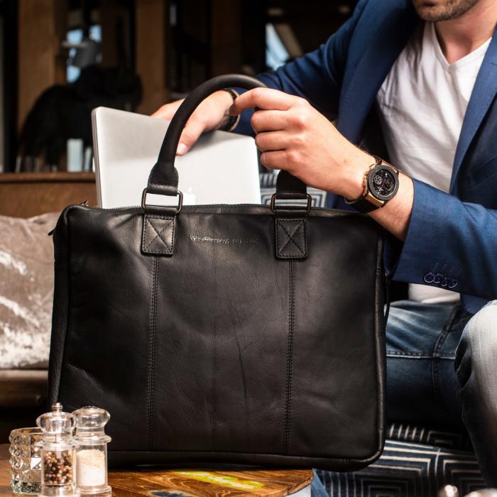 Geanta pentru laptop de 15,6 inch, The Chesterfield Brand din piele naturala, Floris, Negru [1]