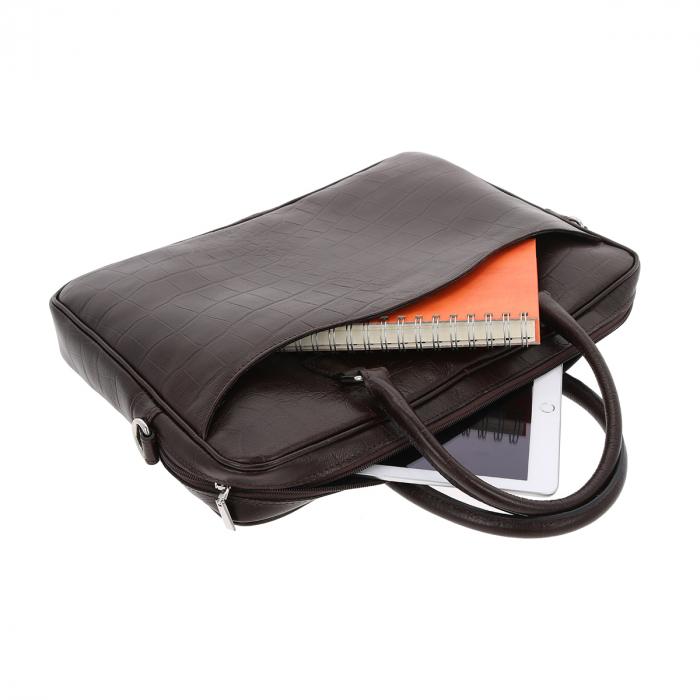 Geanta pentru laptop din piele croco maro 031 [1]