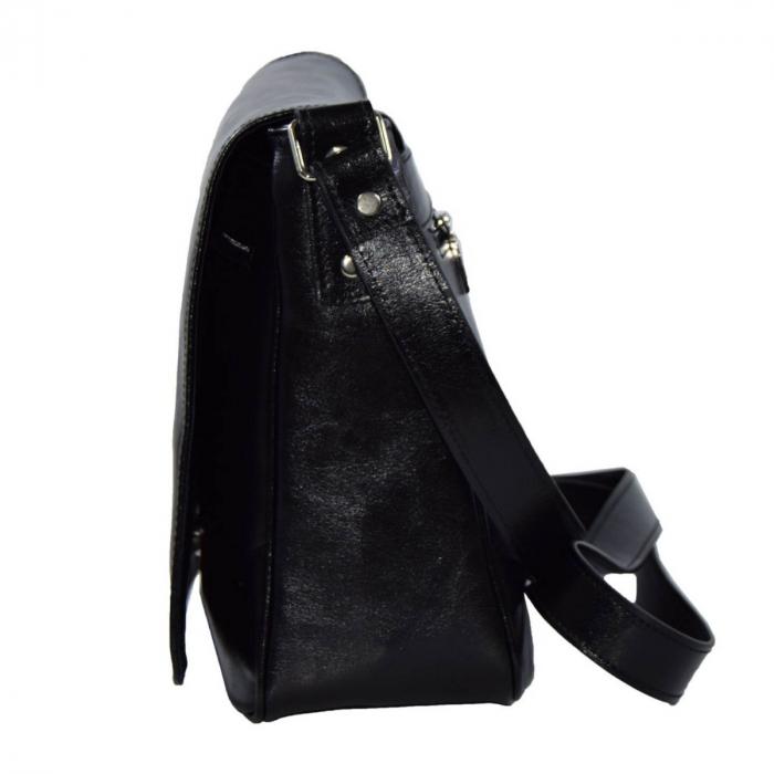 Geanta piele neagra,tip postas, dama casual 137 [2]
