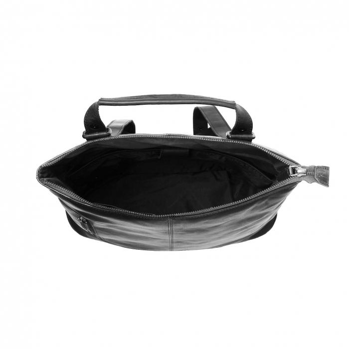 Geanta/rucsac pentru laptop de 14 inch, The Chesterfield Brand, din piele naturala, model Chelsea, Negru [3]