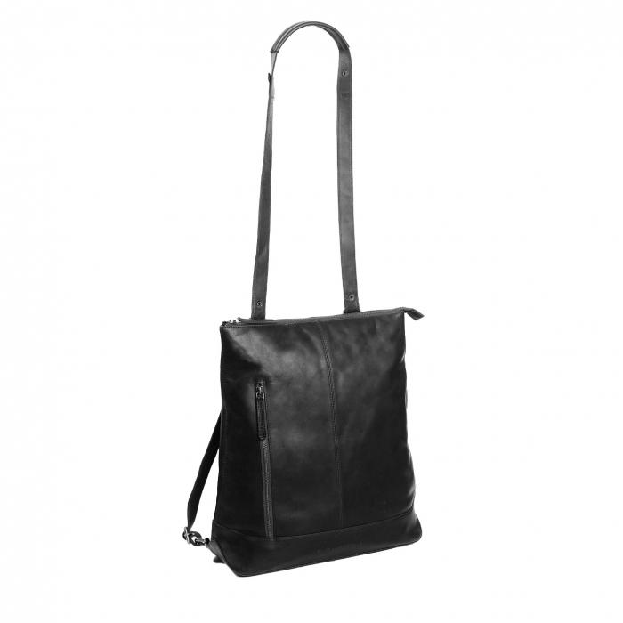 Geanta/rucsac pentru laptop de 14 inch, The Chesterfield Brand, din piele naturala, model Chelsea, Negru [0]