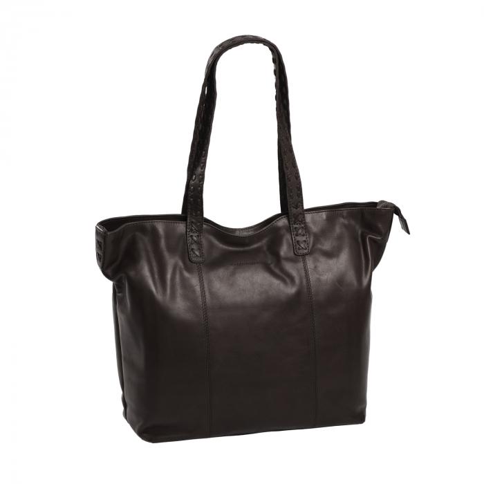 Geanta shopper de dama din piele naturala, The Chesterfield Brand, Kansas, Maro inchis [0]