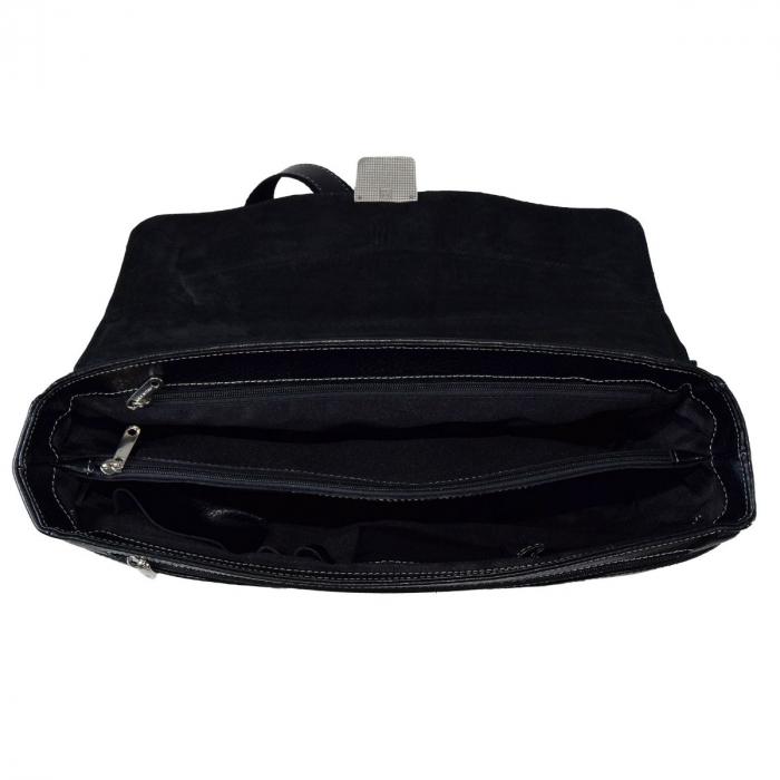 Geanta tip servieta pentru laptop de 14 inch, din piele naturala, model casual 41 negru [5]
