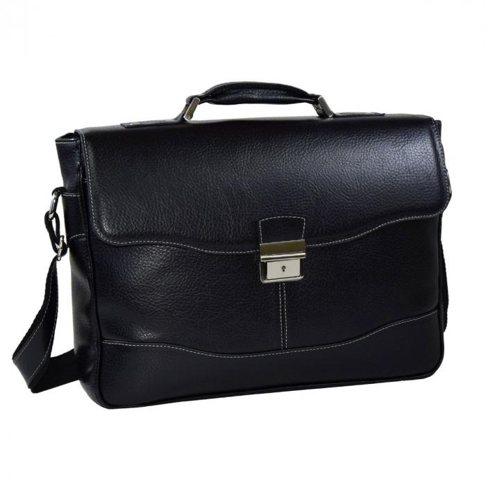 Geanta tip servieta pentru laptop de 14 inch, din piele naturala, model casual 41 negru [0]