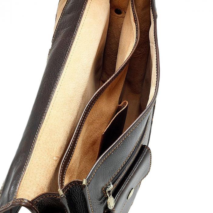 Geanta tip servieta unisex din piele vachetta maro inchis model 4512 [4]