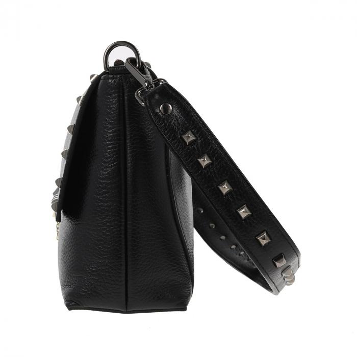 Geanta Tony Bellucci din piele naturala neagra, model cu tinte T429 2