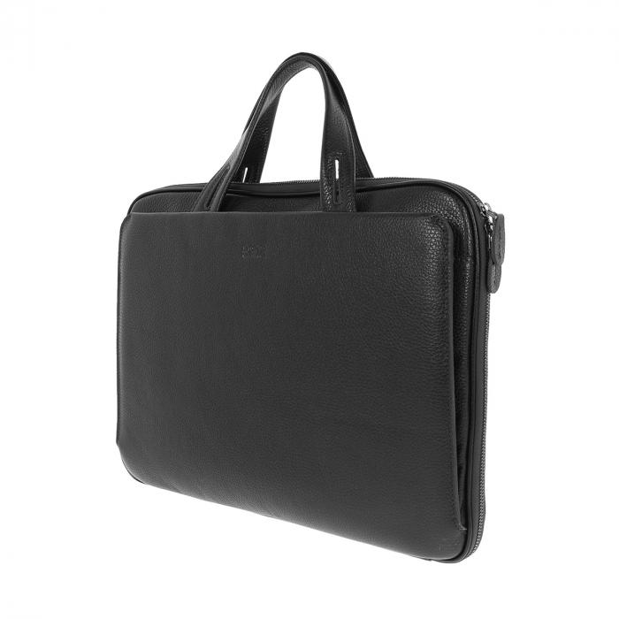 Geanta unisex pentru acte si laptop din piele naturala neagra, model T1187 [4]