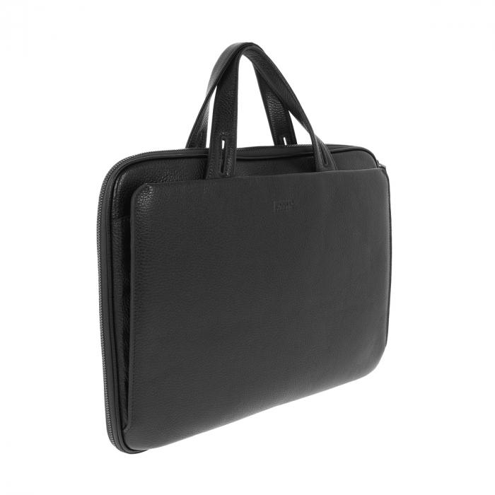 Geanta unisex pentru acte si laptop din piele naturala neagra, model T1187 [0]