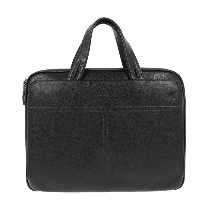 Geanta unisex pentru acte si laptop din piele naturala neagra, model T1187 [1]
