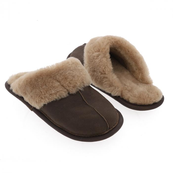 Papuci de casa din blana confortabila naturala de miel, maro cu crem, model pentru barbati [2]