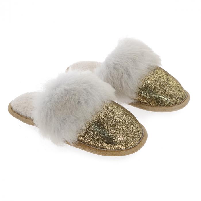 """Papuci de casa din blana pufoasa naturala de miel si talpa moale, culoare auriu cu alb """"murdar"""" [0]"""