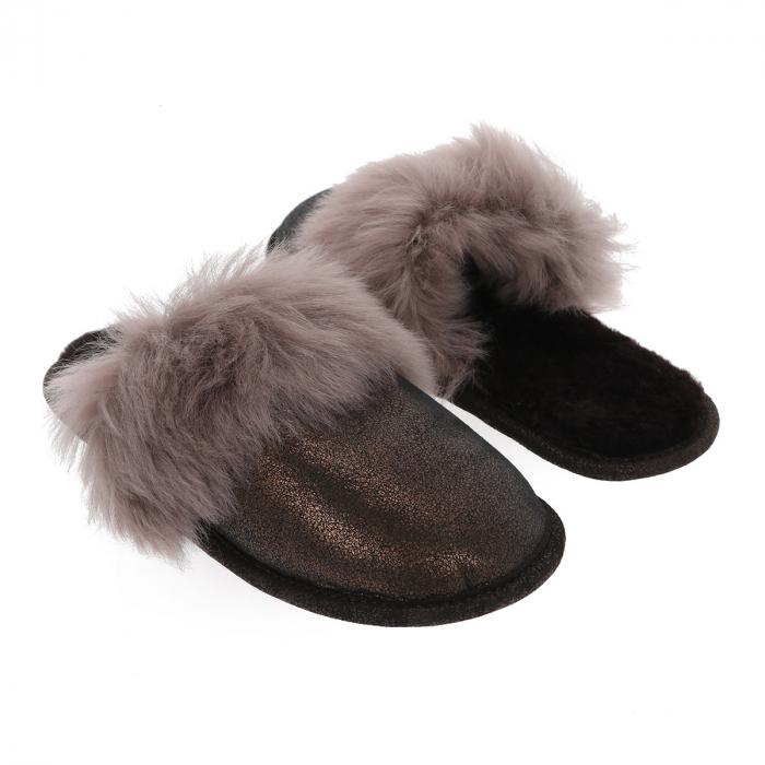 Papuci de casa din blana pufoasa naturala de miel si talpa moale, culoare bronz cu maro cappucino [2]