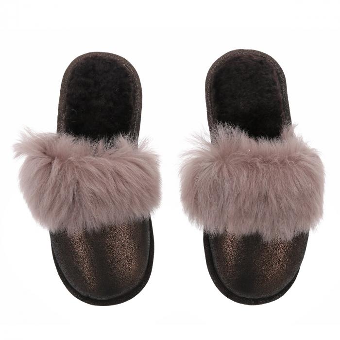 Papuci de casa din blana pufoasa naturala de miel si talpa moale, culoare bronz cu maro cappucino [1]