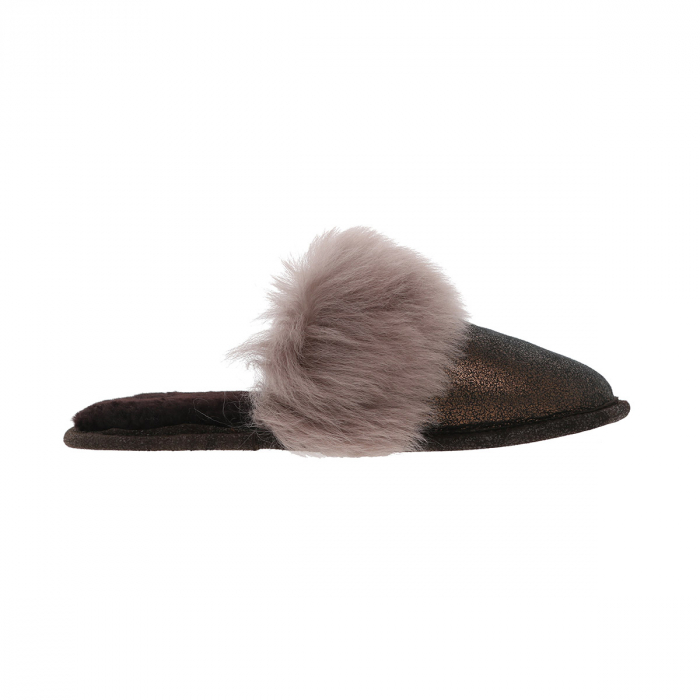 Papuci de casa din blana pufoasa naturala de miel si talpa moale, culoare bronz cu maro cappucino [3]