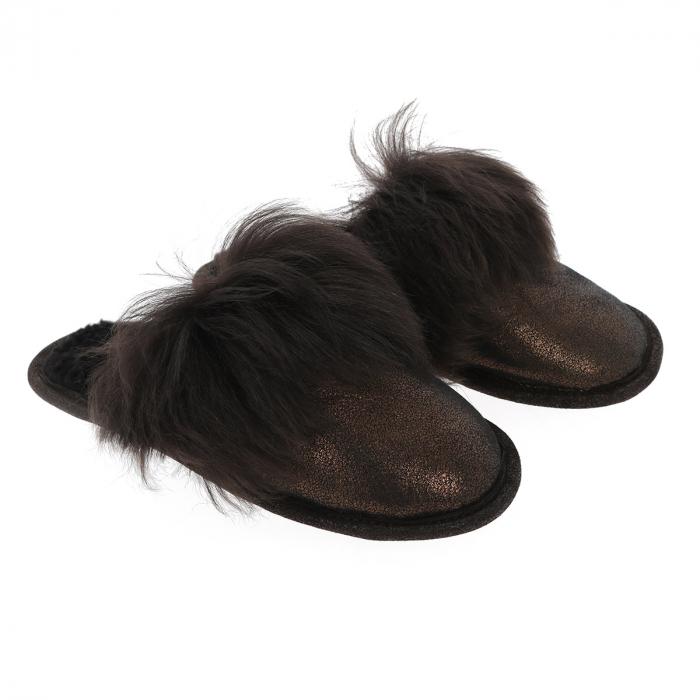 Papuci de casa din blana pufoasa naturala de miel si talpa moale, culoare bronz cu maro inchis [0]
