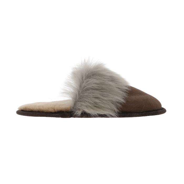 Papuci de casa din blana pufoasa naturala de miel si talpa moale, culoare maro cu gri [3]