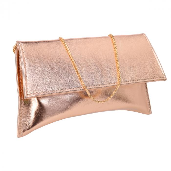 Plic auriu elegant din piele naturala, model trapez [0]