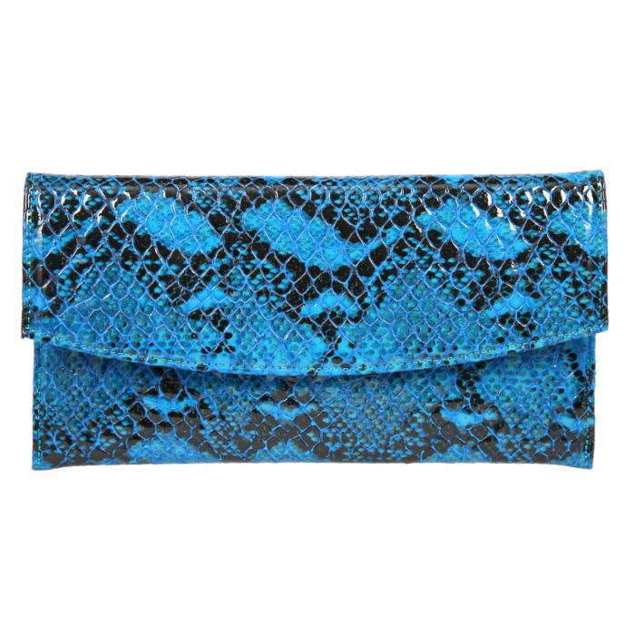 Plic de ocazie albastru din piele tip piton croco lac [1]