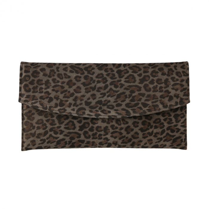 Plic de ocazie animal print din piele naturala gri inchis si negru [2]