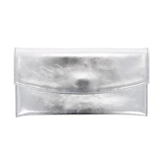 Plic de ocazie argintiu din piele naturala fina [1]