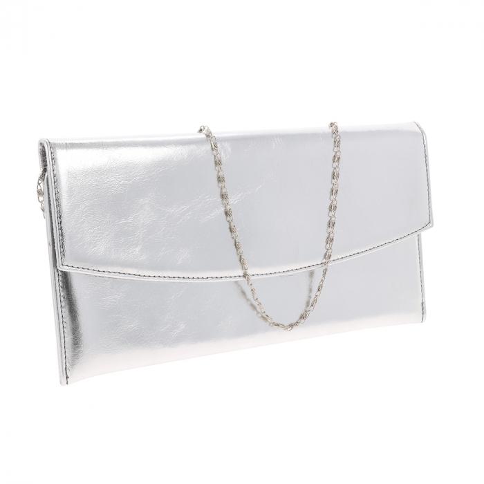 Plic de ocazie argintiu din piele naturala fina [0]